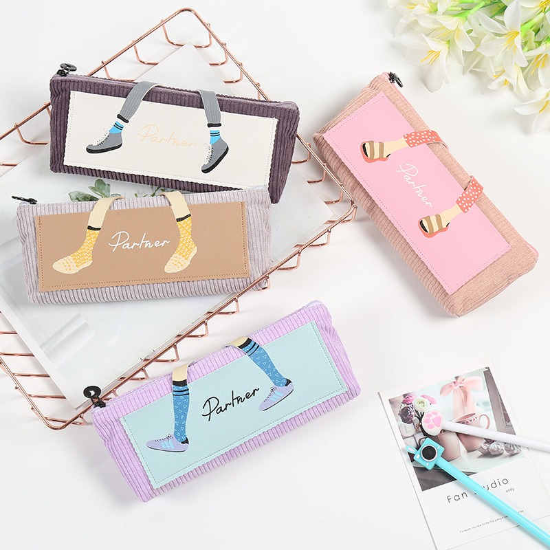 2019 Kawaii Corduroy Pencil Case High Capacity Pen Bags Cute Letter Pencil Bags For Girls Gift School Supplies Korean Stationery