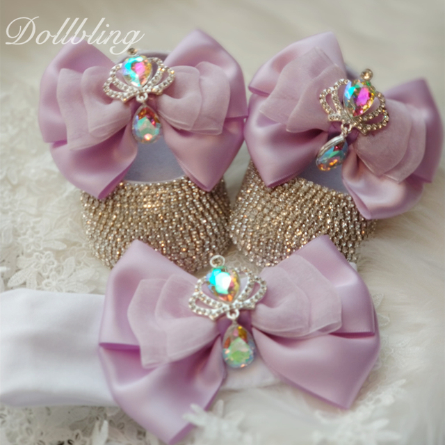 يونيكورن مستوحاة رائع الأرجواني لوليتا Bowknot الملكي تاج تصميم AB كريستال الوليد سرير أحذية هدايا للتعميد