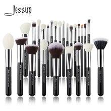 Jessup черный/серебристый набор кистей для макияжа Профессиональный с натуральными волосами основа для пудры тени для век макияж кисти румяна 6 шт.-25 шт