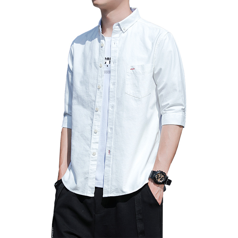 Autumn Men Middle Sleeve 100%Cotton Breathable Oxford Shirts MX19 2