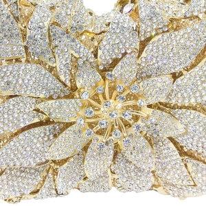 Image 3 - Boutique De FGG bolsos De mano De noche con cristales deslumbrantes para mujer, estuche rígido De Metal, para boda, fiesta, flor, bolso De mano, monedero