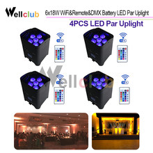 4PCS Wireless DMX Battery Power RGBWA UV 6 IN 1 LED Par Can luce con Wifi e Telecomando per da sposa uplight Fase di Illuminazione(China)