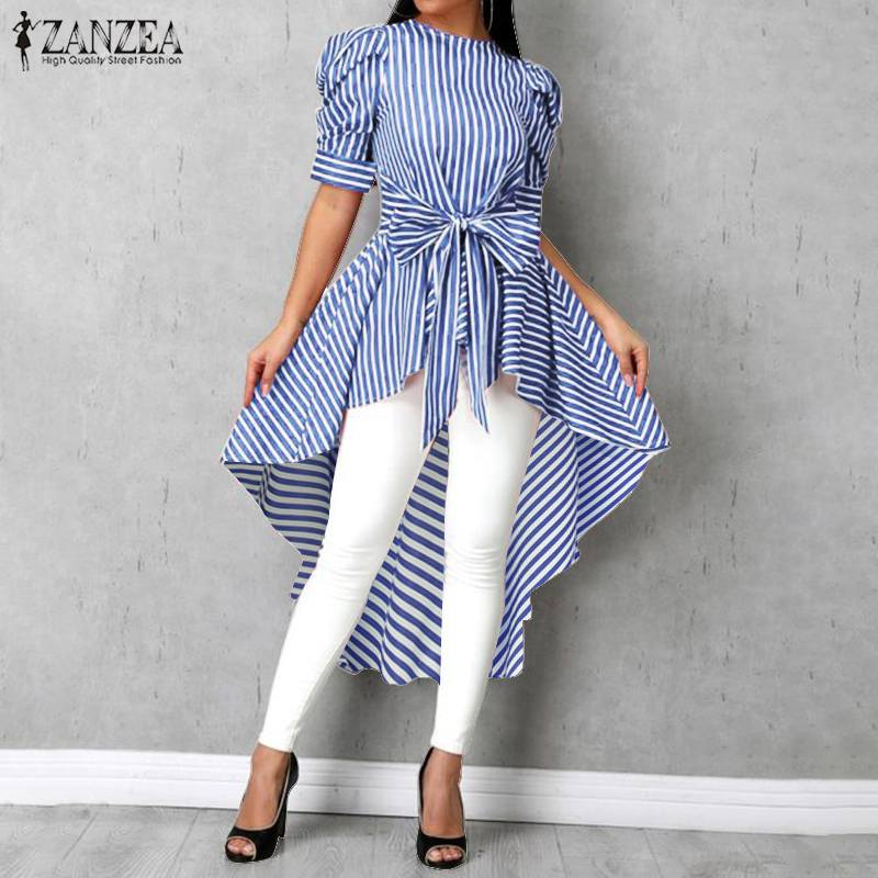 2020 Fashion Asymmetrical Tops Women's Striped Blouse ZANZEA Summer Puff Sleeve Shirts Female High Low Bowknot Blusas Plus Size7