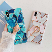 Electroplated IMD Phone Cases for iPhone 11 Pro Max 6 6S Plus Finger Ring Case Gift Cover for iPhone XS MAX 7 8 Plus XR Case laser marble finger ring holder phone cases for iphone 11 pro max case cover funda for iphone 7 8 6 6s plus xs max xr case coque