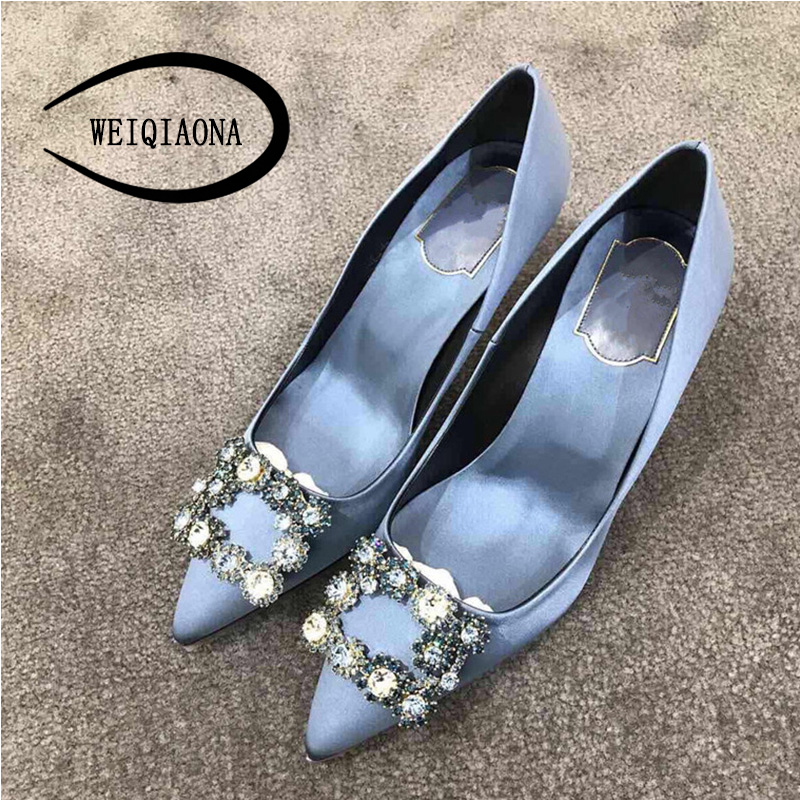 WEIQIAONA Brand Design Luxury Crystal High Heels 2019 Women Shoes Pointed Toe Ladies Shoes Wedding Shoes Star Model Pumps