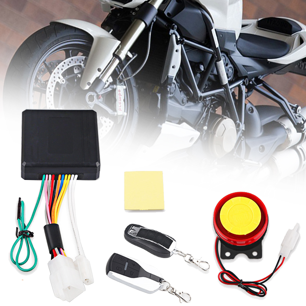 1Set 12V Motorcycle Anti-theft Security Alarm System 125db Engine Start Flameout Remote Control + Adjustable Shock Sensor