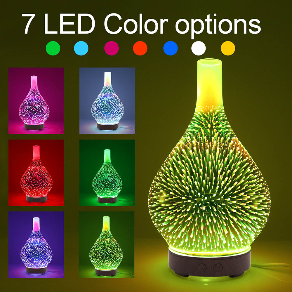 100ml 3D Glass Ultrasound Aroma Diffuser Essential Oil Diffuser Aromatherapy Ultrasound Humidifier 7 Color-changing LEDs SPA