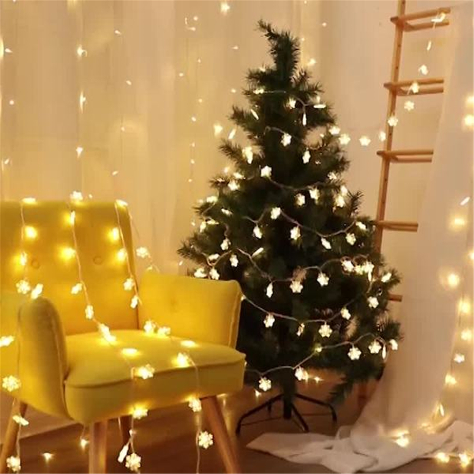 Flasher Led Garland Lights Decoration Christmas Tree Snowflake String Light With Batteries  For Home Party Bedroom Wedding Decor