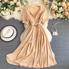 Manga curta sólida a-line zíper robe feminino vestido vintage novo 2020 verão moda elegante senhoras escritório senhora vestido longo