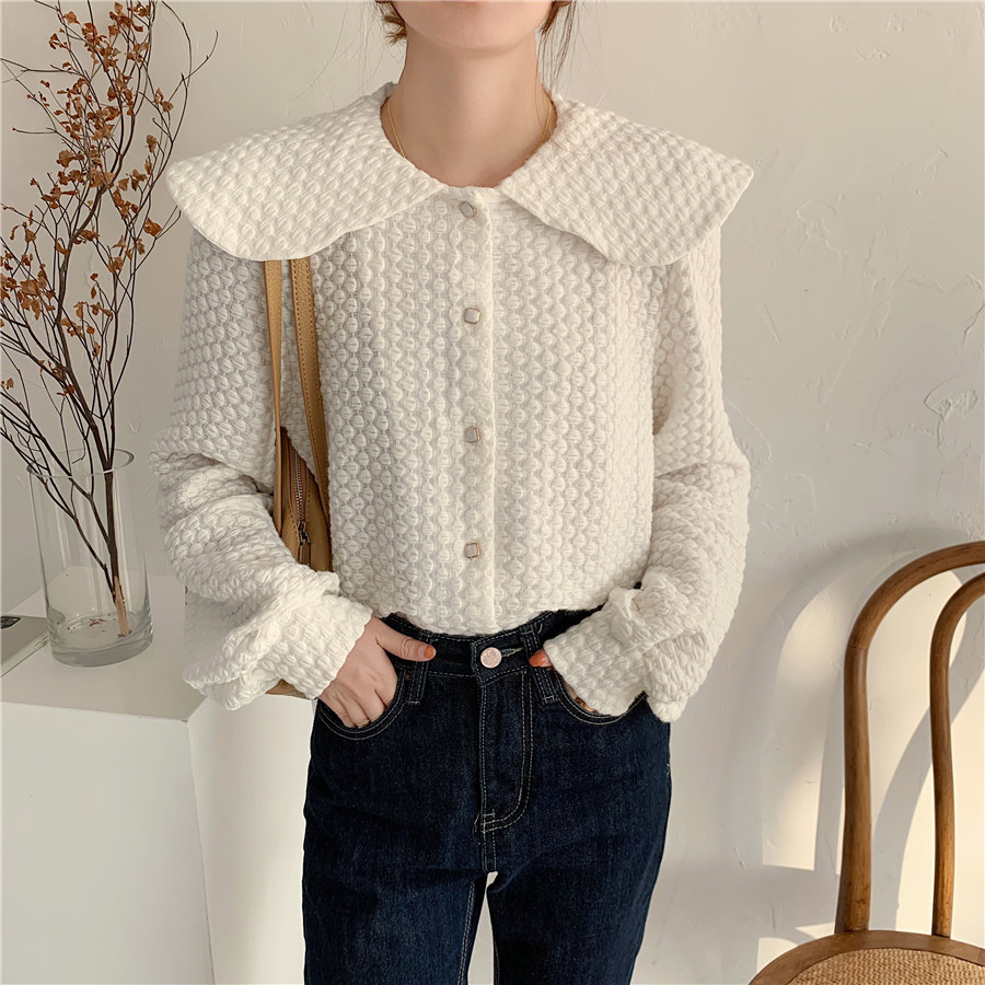 H1dc1d0978d6f4cb3b00f73fcb237d3a7p - Spring / Autumn Big Lapel Long Sleeves French Lace Buttons Blouse