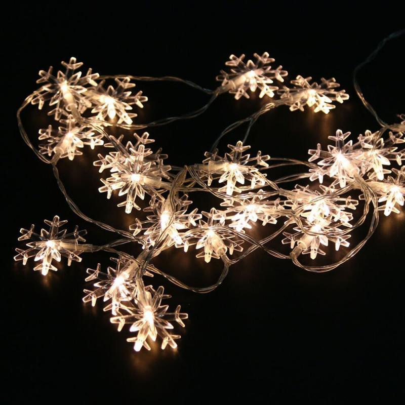 10M LED Snowflake String Lights Snow Fairy Garland Decoration For Christmas Tree New Year Room Valentine's Day Battery