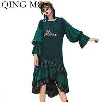 QING MO Autumn Plaid Patchwork Dress Loose Women Flare Sleeve Ruffles Dress Green Female Mid Calf Long Dress 2019 ZQY1783