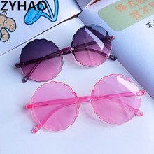 2020 Frameless round kids sunglasses children fashion cute plastic ripple flower