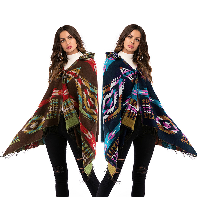 Vintage 70s Ethnic Women Geometric Sweater Aztec Tribal Fringe Indian Gypsy Hippie Knitted Hooded Cardigan Jacket Cape Coat
