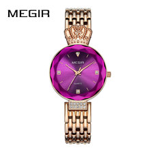 MEGIR Women Watch Purple Diamond Crown Ladies Watches Fashion 2018 Luxury Dresses Elegant Wrist Relogio Feminino