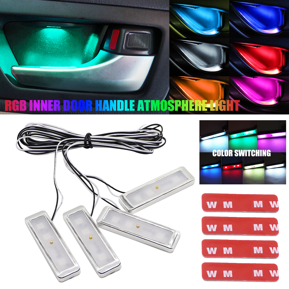 RGB LED Atmosphere Light Eight Modes Automotive Ambient Inner Door Bowl Handle Armrest Light Car Door Interior Decorative Lamp