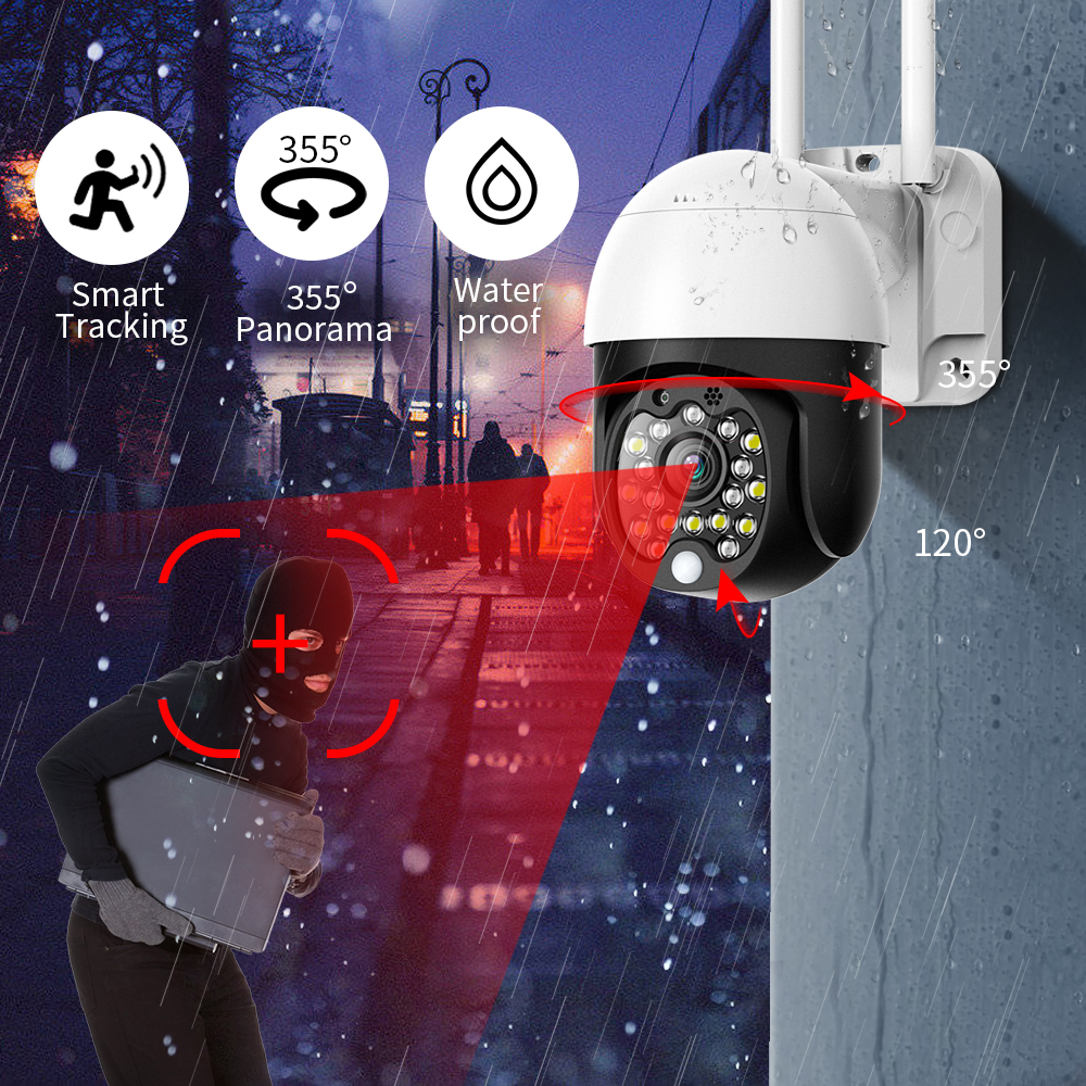 Black 1080P HD IP Camera Security Outdoor PTZ  Wireless CCTV  Audio IR Surveillance Camera Waterproof Wifi Cloud Wireless Camera