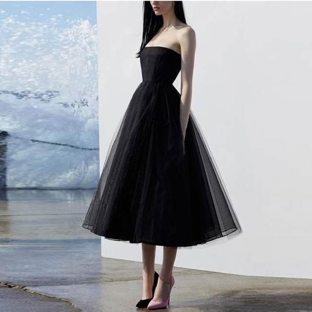 Strapless Black Short Evening Dresses