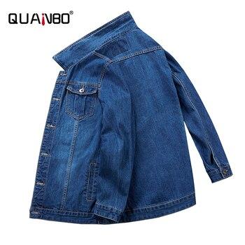 QUANBO Big size 6XL 7XL 8XL Denim Jacket 2020 New Autumn Winter Classic Casual Jeans Jackets Fashion Hip Hop Male Streetwear Fat