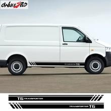 양면 레이싱 줄무늬 도어 사이드 스커트 스티커 자동차 바디 장식 비닐 데칼 For Volkswagen TRANSPORTER T5 T6 액세서리