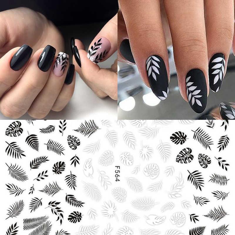 1 pièces 3D ongle curseur noir et blanc dentelle feuille d'érable vintage fleur vigne décalcomanies adhésif manucure conseils Nail Art décorations