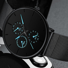 New Elegant Mens Watch Business Blue Stainless Steel Mesh Be