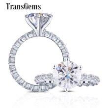Трансгэмс 10K белый золотой центр 2ct 8 мм F цвет моиссанит боковой камень 2,2 мм браслет вечности Золотое кольцо ювелирные украшения