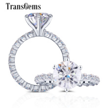 Transgems 10K White Gold Center 2ct 8mm F Color Moissanite Side Stone 2.2mm Eternity Band Gold Ring Fine Jewelry