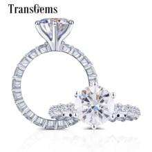 Transgems 10k ouro branco centro 2ct 8mm f cor moissanite lado pedra 2.2mm eternidade banda anel de ouro jóias finas