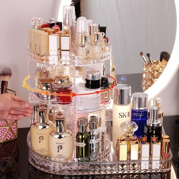 360 Degree Rotating Transparent Acrylic Cosmetic Storage Box Desktop Multifunctional Cosmetic Jewelry Storage Box Container
