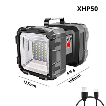 Super bright xhp70.2 led Φακός διπλής κεφαλής led Φακός με usb Λειτουργία εισόδου και εξόδου Προειδοποιητική λυχνία