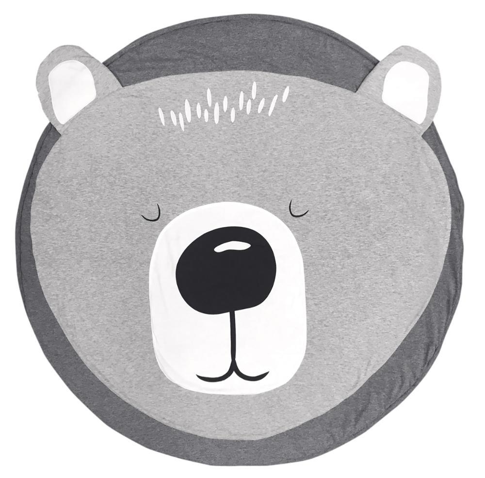 Купить с кэшбэком Foldable Kids Crawling Blanket Pad Cartoon Animals Baby Play Mat Round Carpet Rug Toys Cotton Children Room Decor Photo Props