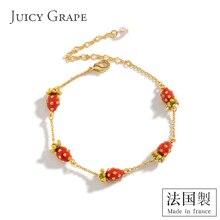 Women Bracelet Juicy-Grape Rhinestone Jewelry Female Enamel-Glaze Strawberry Ins-Design