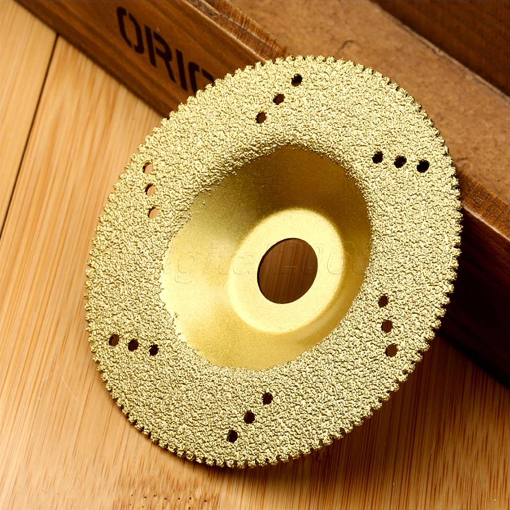 Bowarepro 100mm Diamond Coated Cutting Disc Saw Blade 16mm Inner Diameter Grinding Wheel Tool Golden Color High Quality