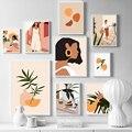 Абстрактные Модные Винтажные настенные художественные картины для девочек, скандинавские постеры и принты, настенные картины для гостиной...