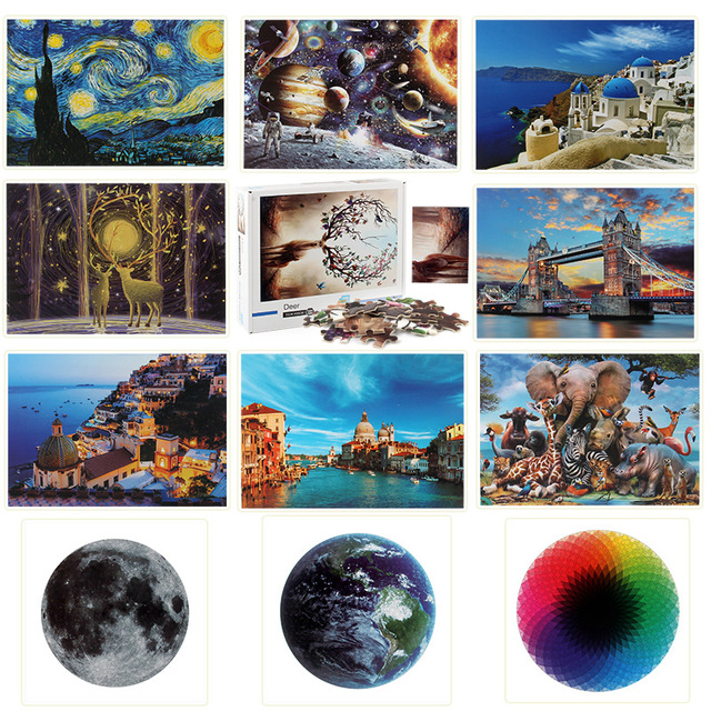 Jigsaw Puzzles 1000 Pieces Wooden Assembling Picture Space Earth World Landscape Puzzles Toys For Adults Children kids Home Game 1