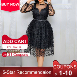 Retro Black Women A Line Dress African Style 2021 Summer Elegant Lady Workwear Dinner Midi Dress Robe Femme Vestiods Plus 4xl
