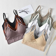 Simple Fashion Sport Push Up Bra Solid Yoga Top Sexy Seamless Bralette Chest Tops Wire Free Brassiere Women Breathable Lingerie(China)
