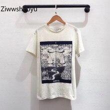 Ziwwshaoyu Новая высококачественная весенне-летняя модная футболка с принтом льняная+ хлопковая футболка с коротким рукавом женская