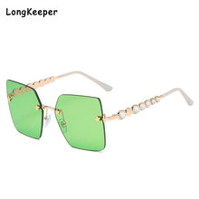Квадратные Солнцезащитные очки без оправы с бриллиантами женские