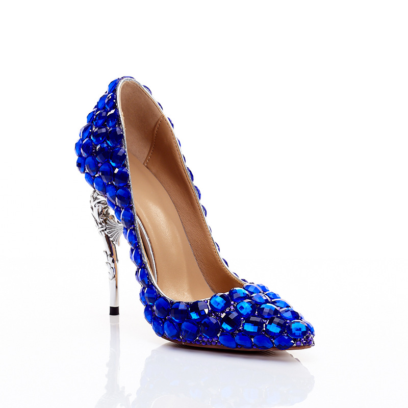 High-Qualit Royal Blue Pointed Toe Crystal High Heels Shoes Rhinestone Ladies Pumps Bridal Wedding Cocktail Party Shoes-BeeInFly