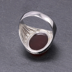 Image 4 - Real Pure 925 Sterling Silver Turkish Rings For Men Hollow Retro Rings With Stones Black Red Onyx Original Color Anelli Uomo