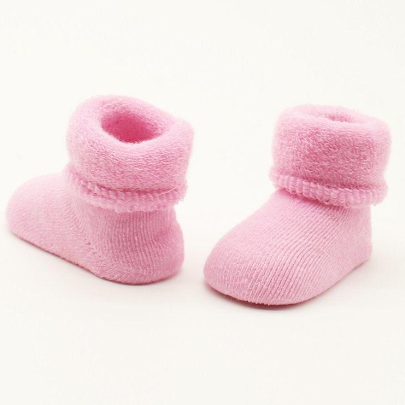 Dropshipping 0-24M Newborn Baby Cotton Socks Winter Baby Boy Girl Warm Thick Floor Socks Infant Toddler Kids Anti Slip Socks