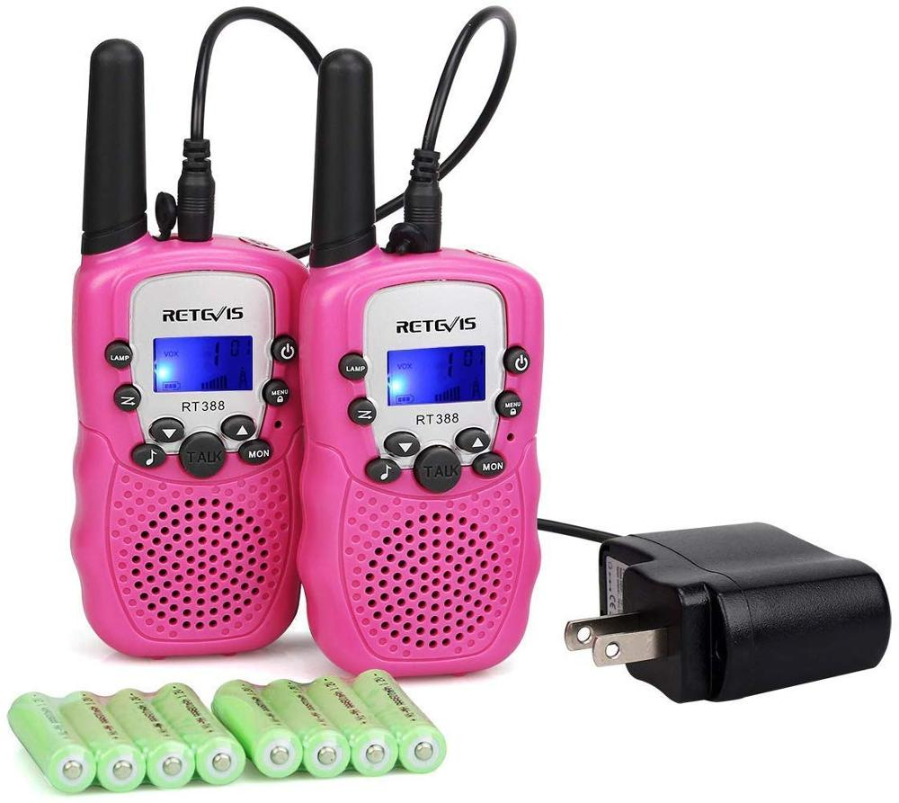 PC Material Pink Retevis RT388 Children Walkie-Talkie 2pcs 0.5W 8/22CH Two Way Radio Portable  Flashlight & Rechargeable Battery