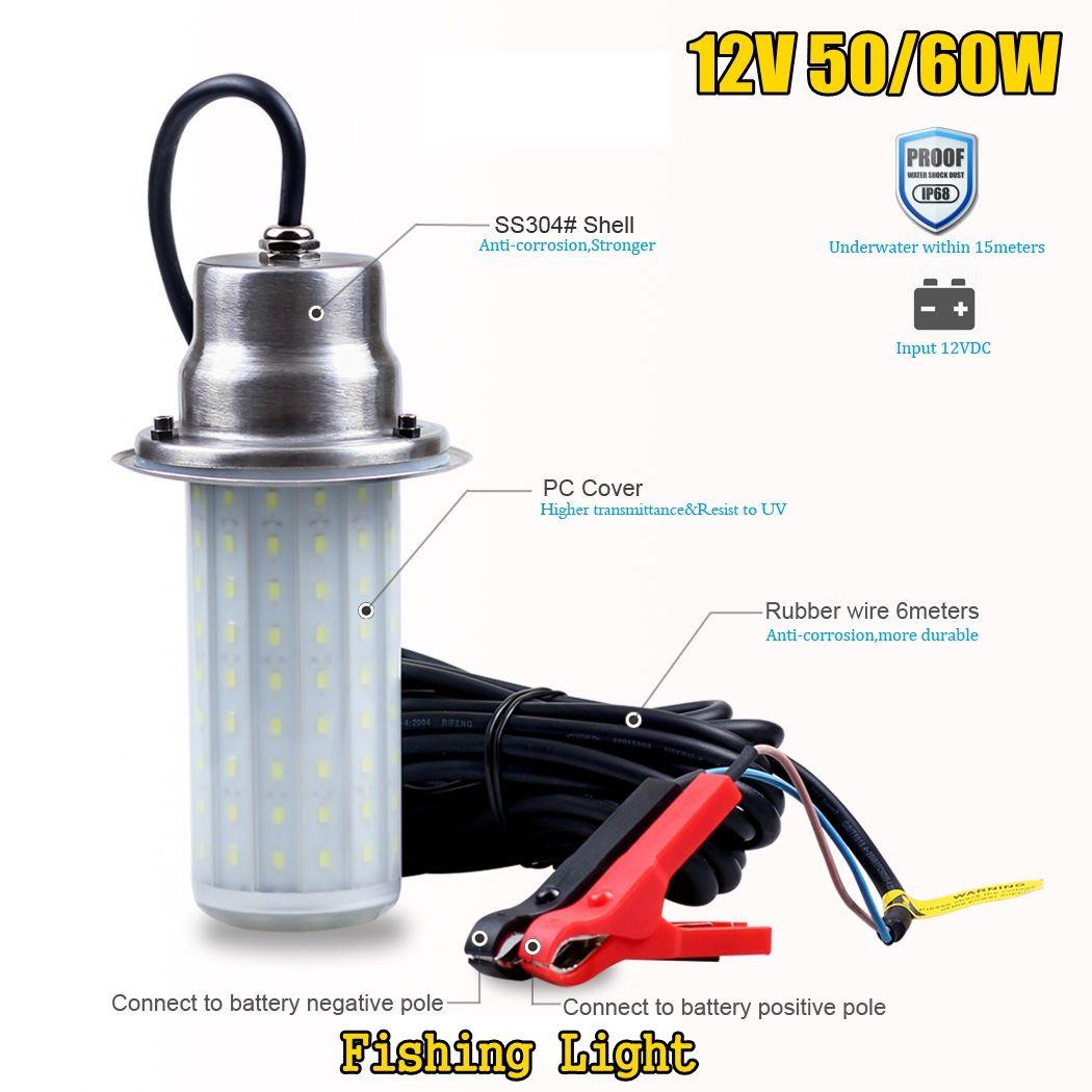 Outdoor 0 30m Unterwasser Licht IP68 Wasserdicht für Meer Nacht Angeln LED Locken Beleuchtung DC12V 50/ 60W Fisch Attraktor Lampe - 2