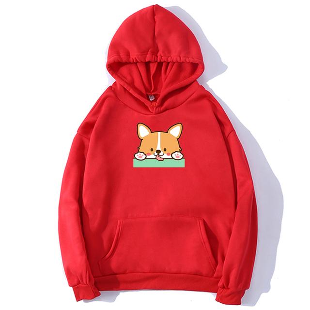 Autumn Kawaii Hoodies Corgi Dog Women Sweatshirt Funny Animal Printed Cartoon Oversize Pullovers Female Streetwear Poleron Mujer