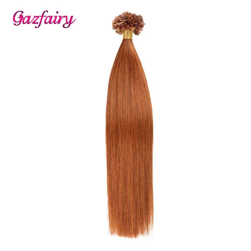 Gazfairy Straight Remy Keratin Capsules U Tip Hair 16-22 Inch 1g/s 100g  Human Fusion Hair Nail U Tip Pre Bonded Hair Extensions