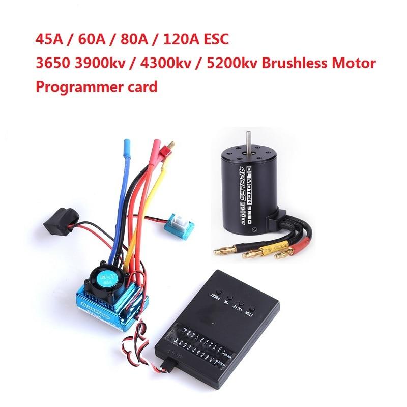 3650 3900kv 4300kv 5200KV Brushless Motor / 45A 60A 80A 120A Brushless ESC Electric Speed Controller Dust-proof For 1:10 RC Car