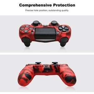 Image 4 - غطاء حافظة من السيليكون لجهاز سوني PS4 وحدة تحكم لجهاز PS4 غمبد جويستيك مع 2 thumbsticks غطاء مقبض