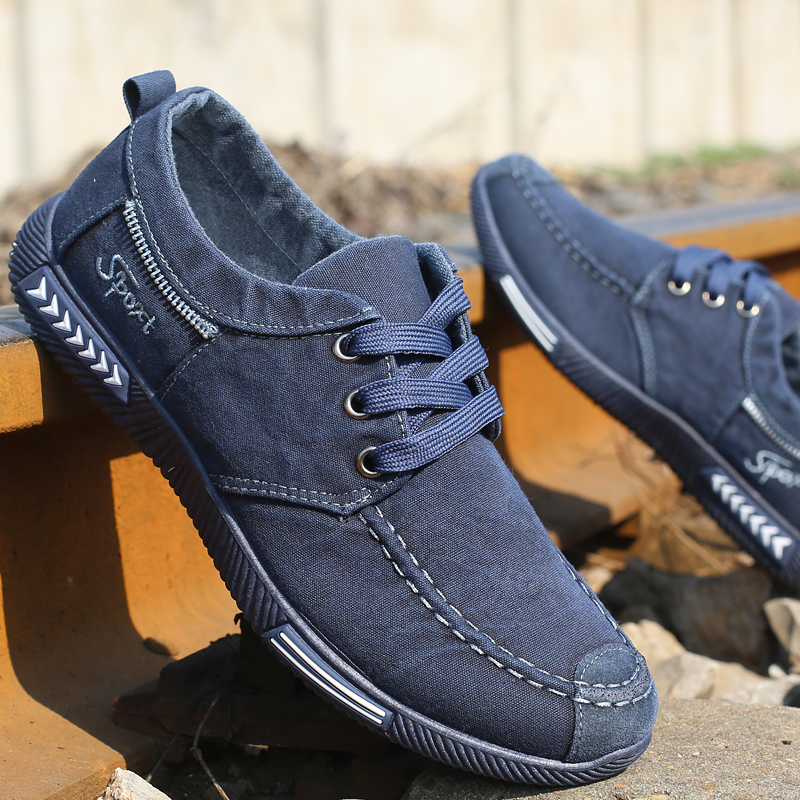 Fashion Denim Men Canvas Shoes Male Summer Mens Sneakers Lace Up Casual Breathable Shoes Chaussure Homme SIZE 39-44
